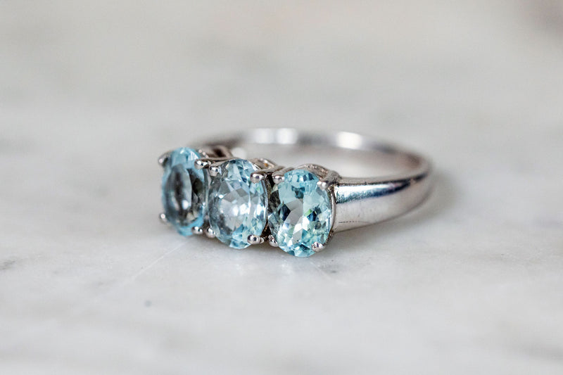 Aquamarine Trilogy Ring set in Silver