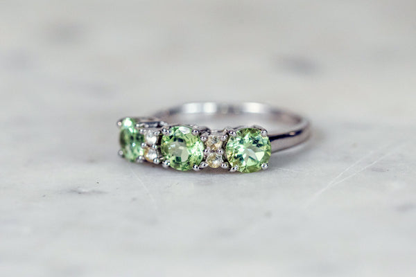 Green Apatite Ring set in Silver