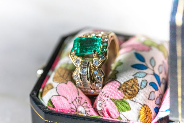 Unique Cut Emerald and Diamond Ring set in 18ct Yellow Gold
