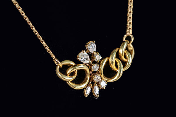 Diamond and 5 Gold Ring Necklace