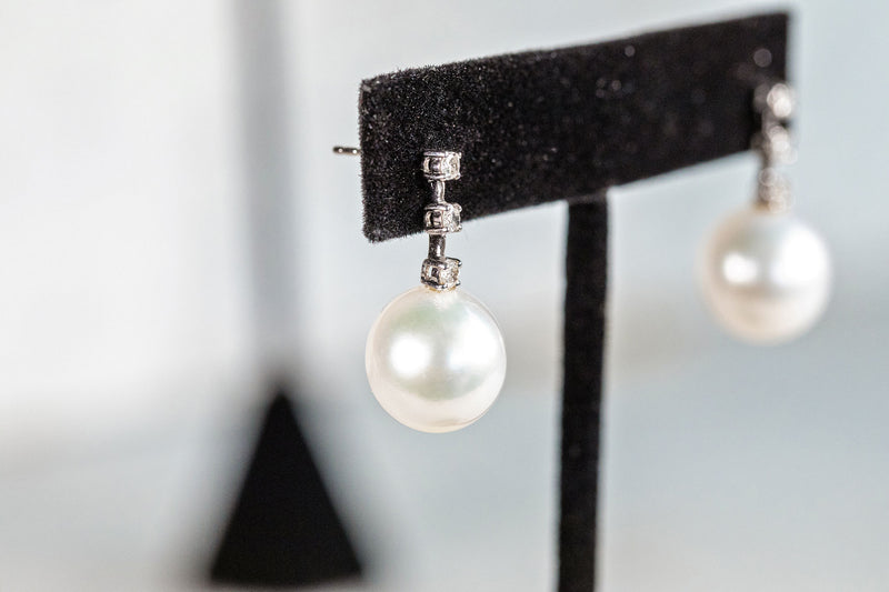 3 Stone Diamond and Pearl Earrings