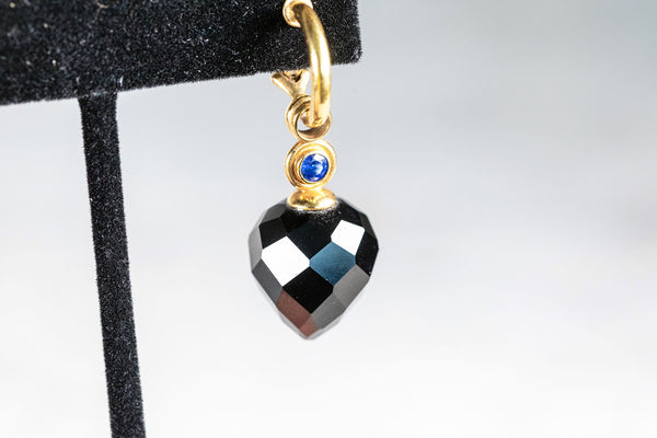 Onyx and Sapphire Dropper Earrings in 18ct Yellow Gold
