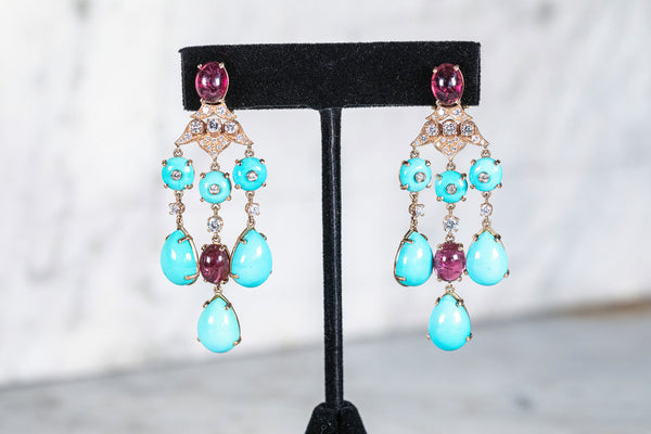 Turquoise, Ruby & Diamond Earrings set in 18ct Gold