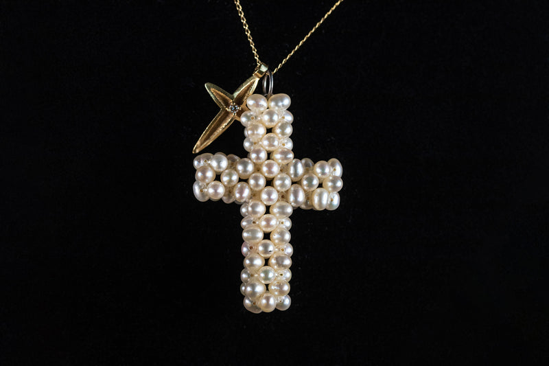 Double Cross Necklace 18ct Gold and Pearl