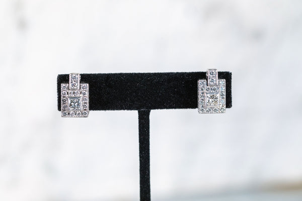 Princess Cut Diamond Earrings with Diamond surround