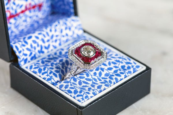 Art Deco Style Ruby & Diamond Ring set in 18ct White Gold
