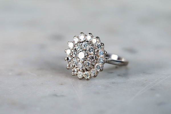 Diamond Cluster Ring set in 18ct White Gold