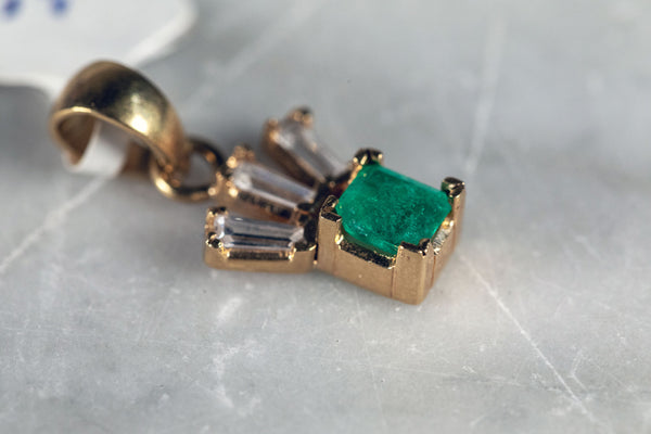 Emerald and Baguette Diamond Pendant set in 18ct Yellow Gold