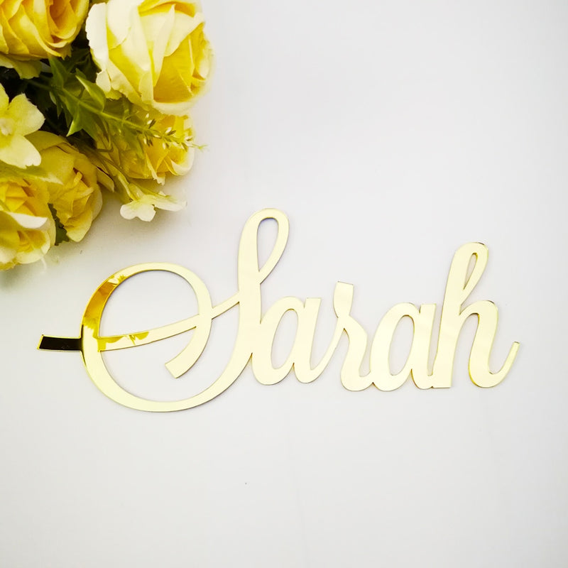 Rose Gold Custom Mirror Baby Name Sign Nursery Wall Decoration Black Personalized  Name Sign Rustic Wedding Party Baptism