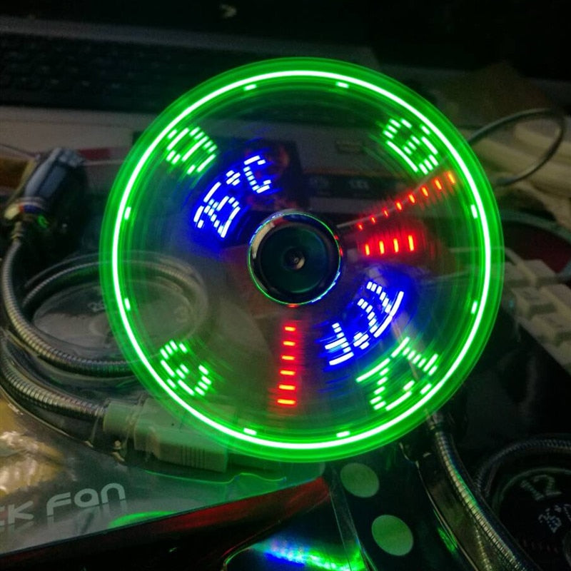 USB fans mini Time and Temperature display  LED Light  product