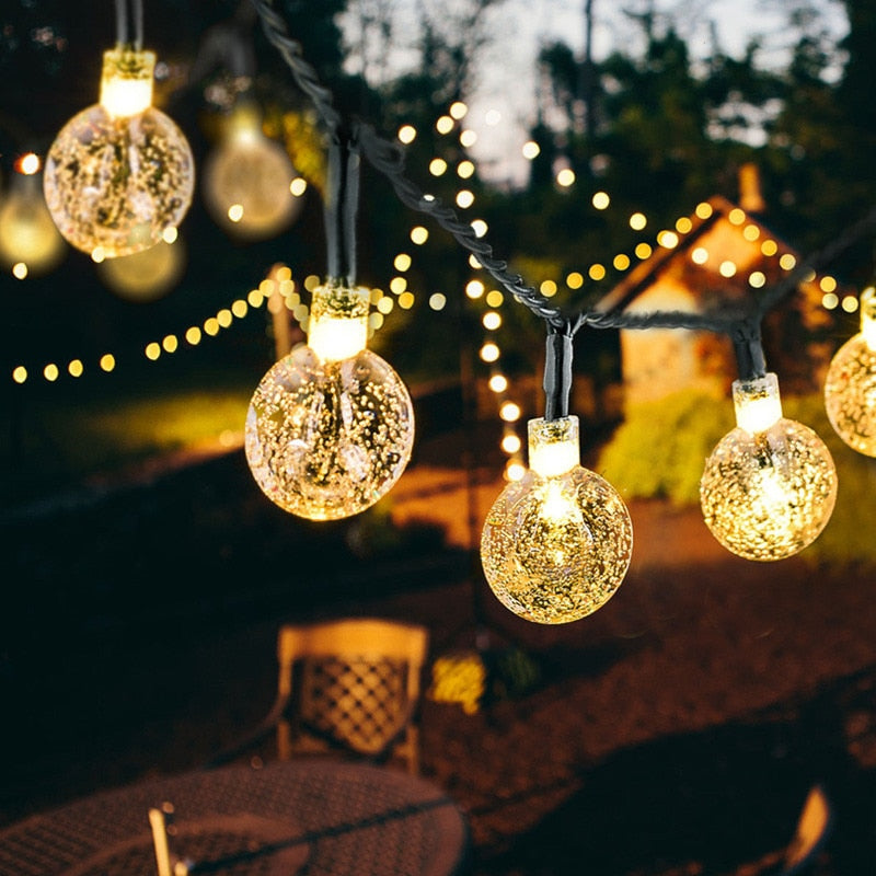 New 20/50 LEDS Crystal ball 5M/10M Solar Lamp Power LED String Fairy Lights Solar Garlands Garden Christmas Decor For Outdoor