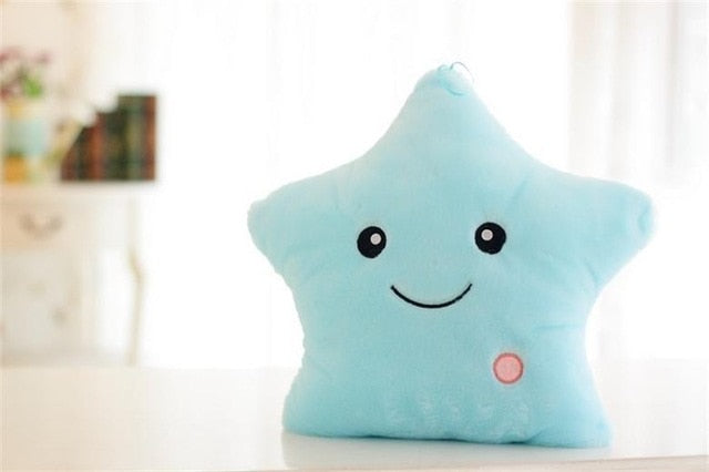 34CM Creative Luminous Toy Pillow Colorful Stars Cushion Led Light Toys Soft Stuffed Plush Glowing Gift For Kids Children Girls