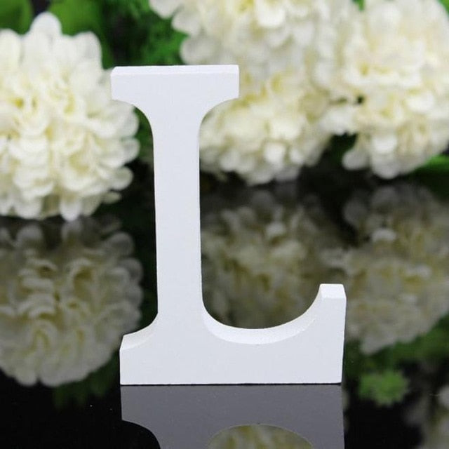 1pc Diy Freestanding Wood Wooden Letters White Alphabet Wedding Birthday Party Home Decorations Personalised Name Design QQLIFE