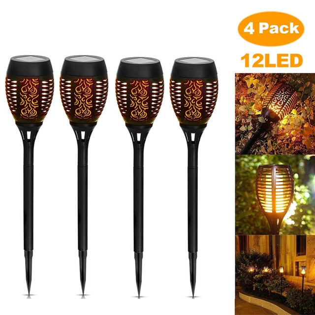 12LED 33LED Solar Flame Torch Light Flickering Waterproof Garden Decor Landscape Lawn Lamp Path Lighting Torch Outdoor Light