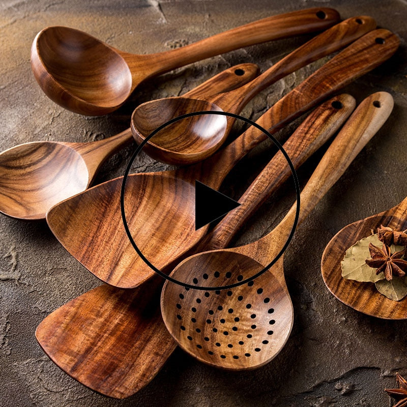 1-7pcs/set  Teak natural wood tableware spoon colander spoon special nano soup skimmer cooking spoon wooden kitchen tool kit