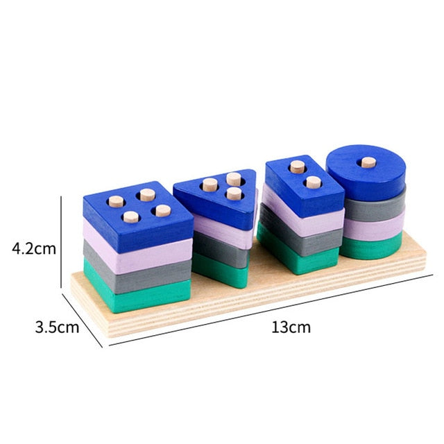 Mini Size Wooden Montessori Toy Building Blocks Early Learning Educational Toys Color Shape Match Kids Toy for Boys Girls 2Y+