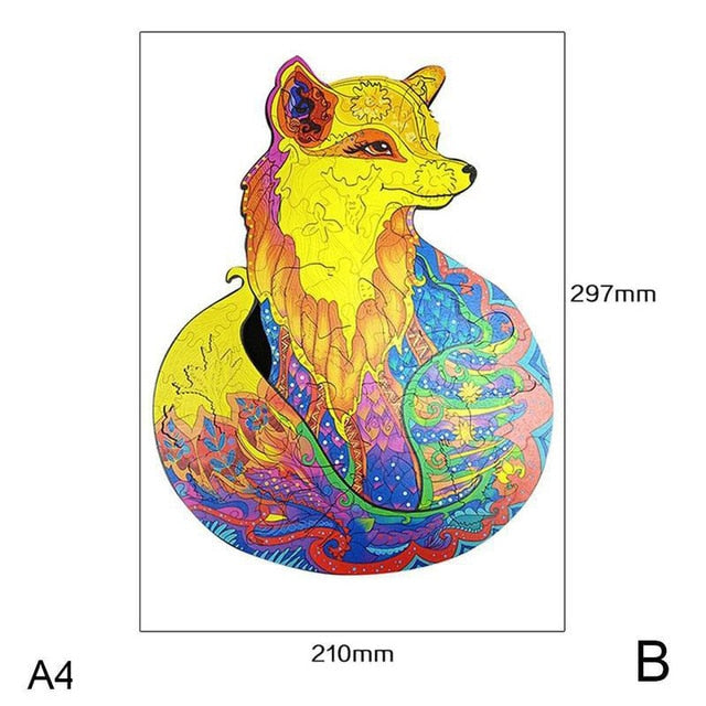 Unique Wooden Puzzle animal Jigsaw Puzzles Mysterious Wolf Puzzles Gift For Adults Kids Educational Puzzle Gift Interactive Toy