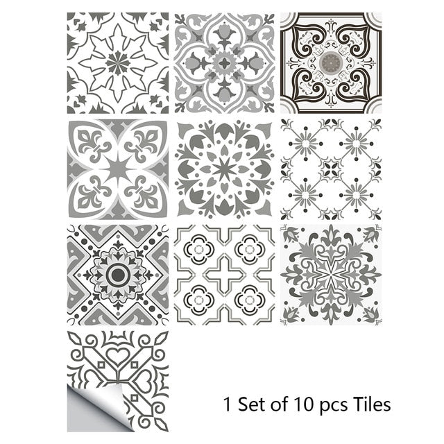 10pcs Gray Retro Pattern Matte Surface Tiles Sticker Transfers Covers for Kitchen Bathroom Tables Floor Hard-wearing Wall Decals