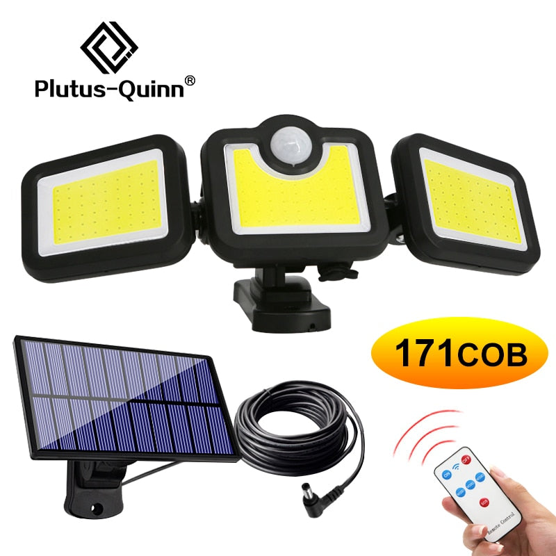 171 COB Solar LED Light Outdoor 3 Head Motion Sensor 270 Wide Angle Illumination Waterproof Lights Wall lamp for Garden Garage