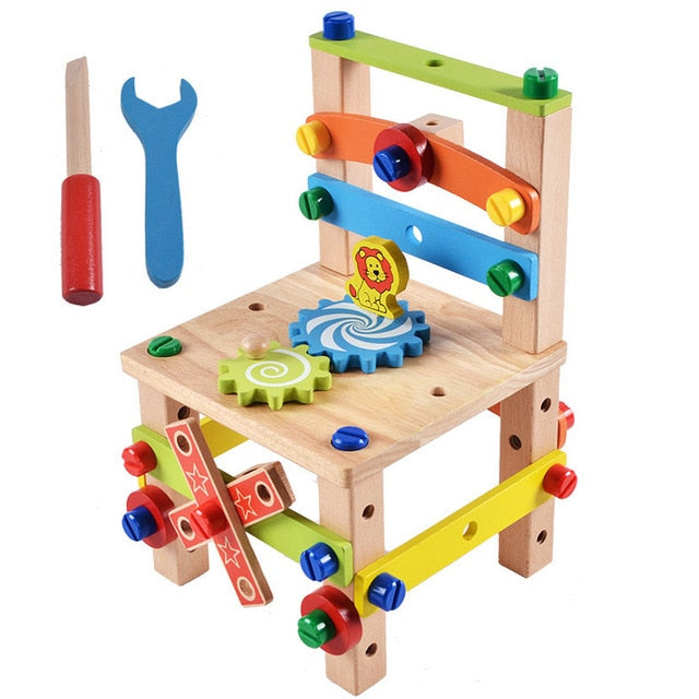 Wooden Assembling Chair Montessori Toys Baby Educational Wooden Blocks Toy Preschool Children Variety Nut Combination Chair Tool