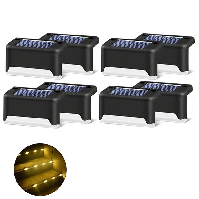 8/16 PCS Solar Lights Solar Step Lights Outdoor Waterproof Led Solar Stair Fence Lamp decoration for Patio Stairs Garden Yard