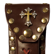 Load image into Gallery viewer, Leather Knife Case - Gold and Silver Cross (Medium Brown Leather)