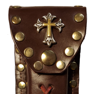 Leather Knife Case - Gold and Silver Cross (Medium Brown Leather)