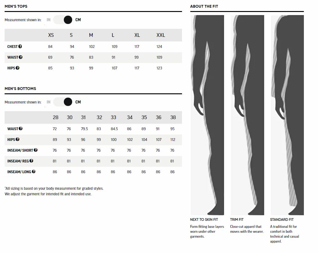Outdoor research mens Size Chart