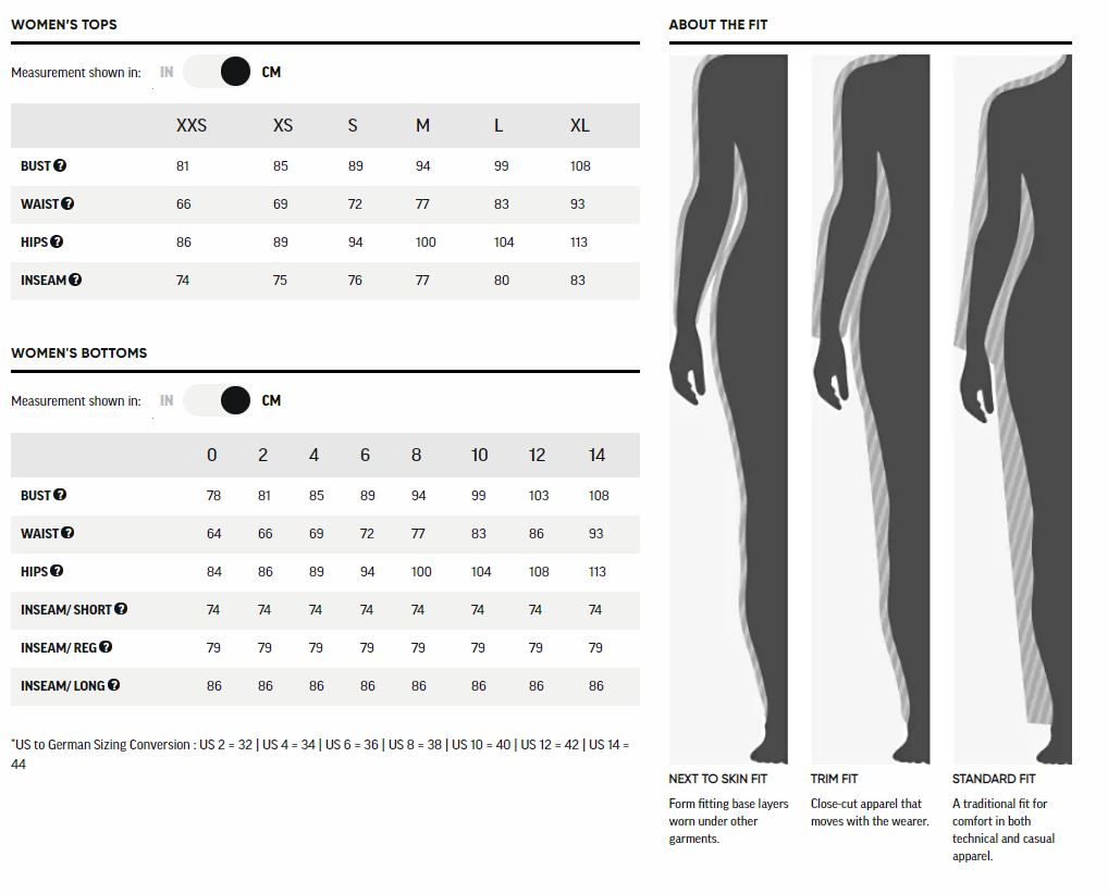 Outdoor Research Womens Size Chart