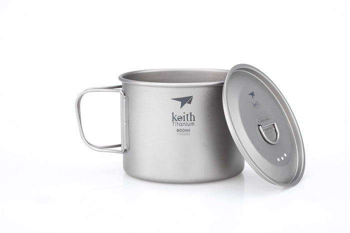 KEITH Single-Wall Titanium Mug With Handle/Lid 900ml (Ti3209)