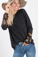 Load image into Gallery viewer, Carrie Mineral Washed Floral Sleeve Top
