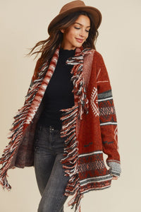 Fringe Detail Knit Retro Cardigan