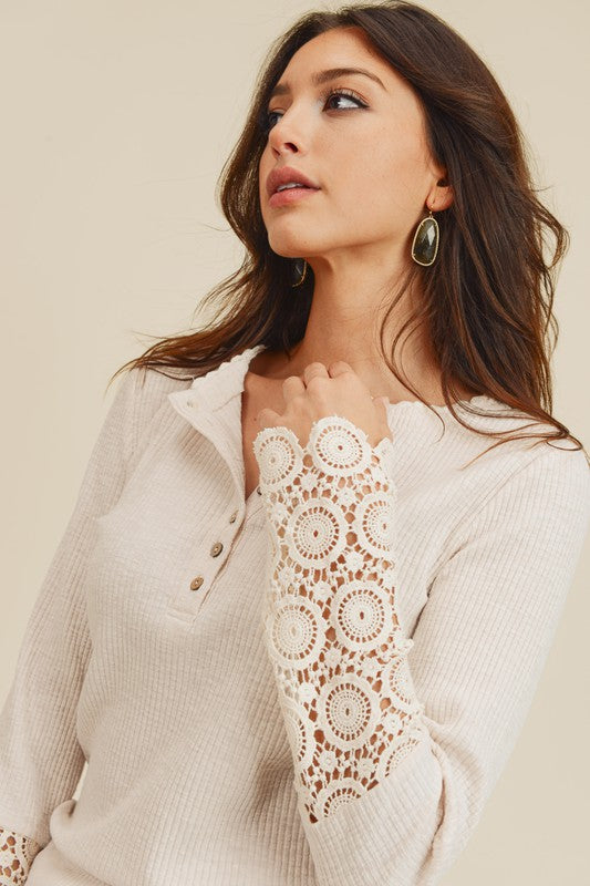 Crochet Sleeve Hem Top with Button Detail