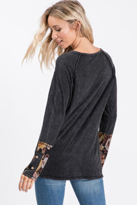 Carrie Mineral Washed Floral Sleeve Top