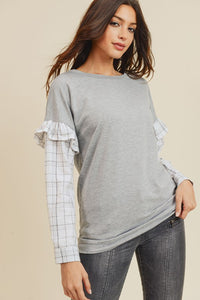 French Terry Sweater w/ Plaid Ruffle Sleeve