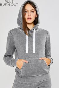 Multiple Colors - Plus Basic Burn Out Pullover Hoodie