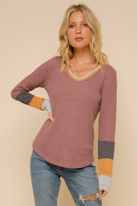 Color Block Thermal Long Sleeve T-Shirt