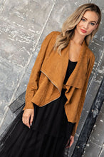 Load image into Gallery viewer, FAUX SUEDE DRAPE FRONT ZIPPER JACKET - Camel