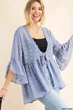 Load image into Gallery viewer, Textural Dobby Fabric Front Tied Ruffle Kimono