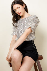 Ruched Sleeve Sequin Top - THML