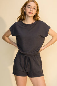 Charcoal Shorts & Tee Lounge Set