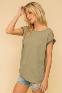 Olive Trim Detail Drop Shoulder Tee
