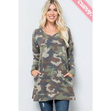 Load image into Gallery viewer, Camouflage V Neckline Top