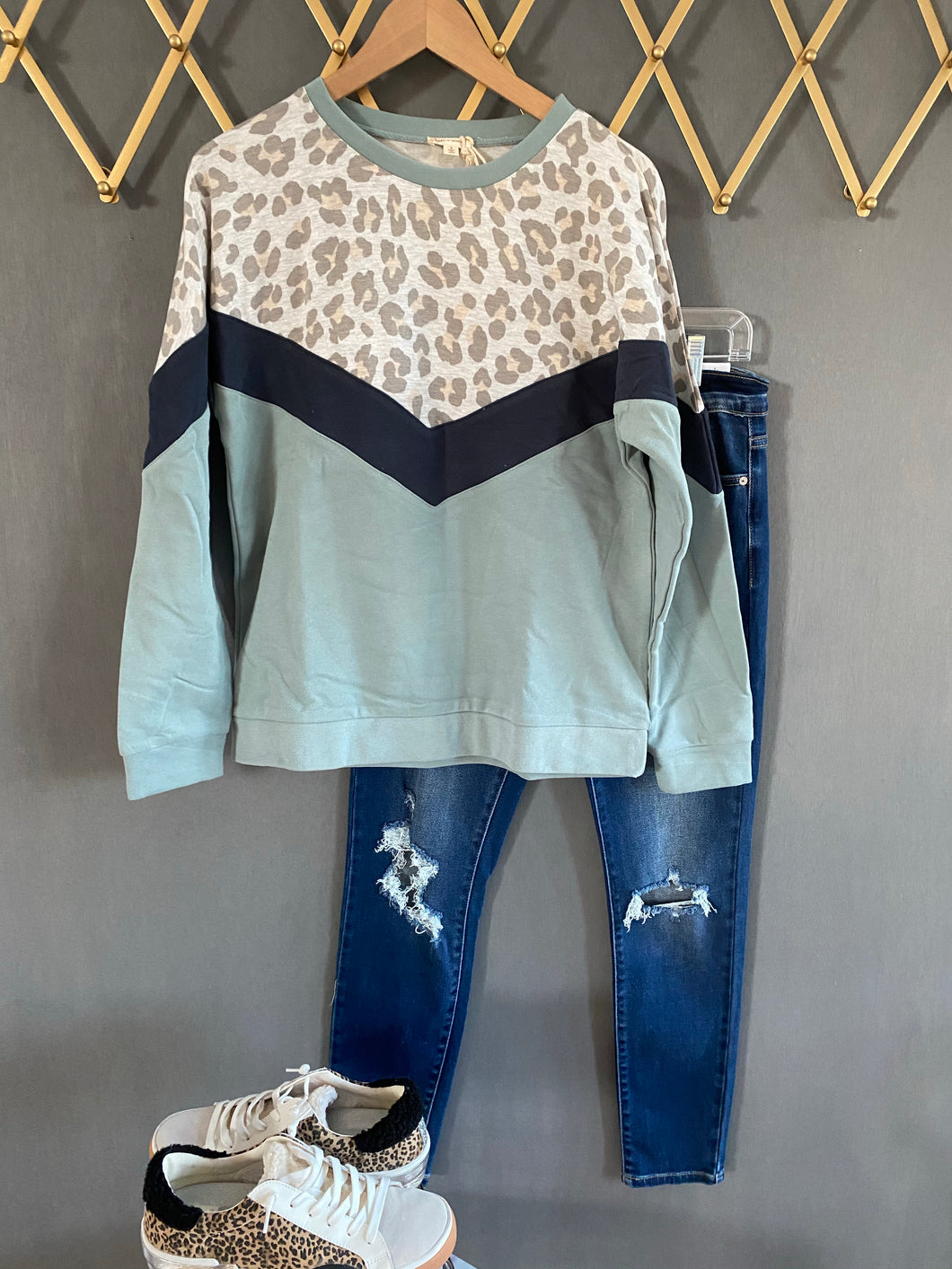 Soft and Cozy Mint Leopard sweatshirt