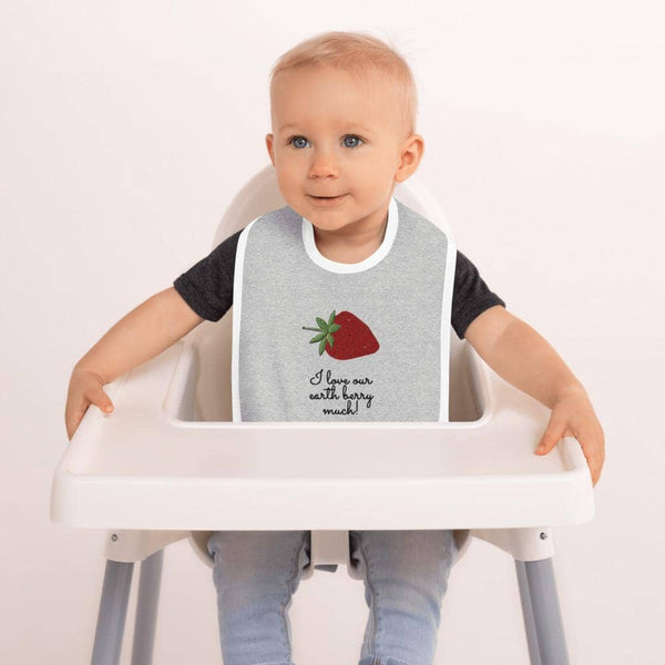 """Berry Love"" Embroidered Baby Bib - Earth Rebirth"