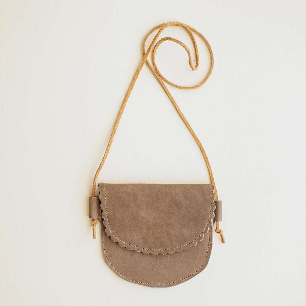 Scalloped Leather Bag Taupe