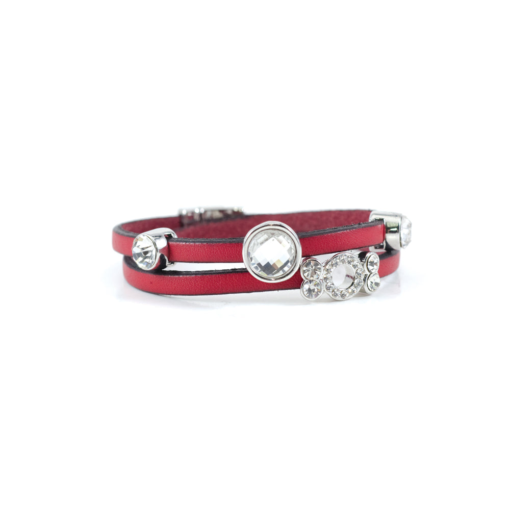 bracelet de cuir véritable et cristaux avec fermoir aimanté - ROUGE | Wrap bracelet in genuine leather & crystals with magnet clasp - RED