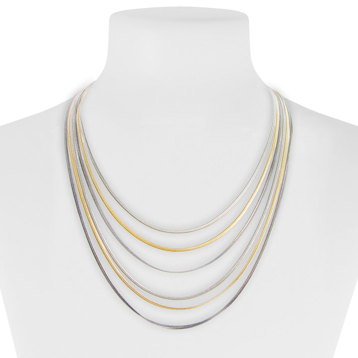 COLLIER COURT MULTI RANGS SUR CHAÎNES  - MIX OR | SHORT LAYERED CHAINS NECKALCE  - MIX GOLD