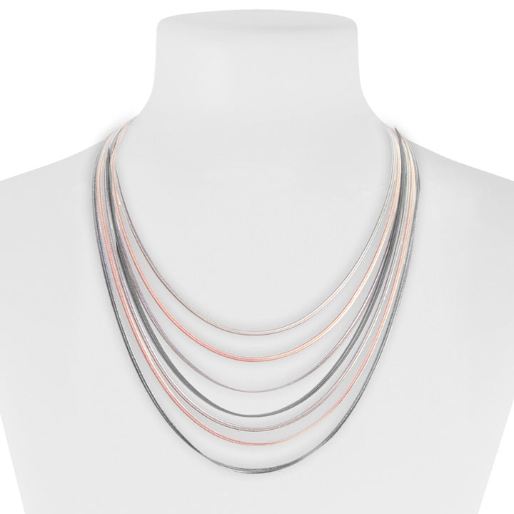 COLLIER COURT MULTI RANGS SUR CHAÎNES  - MIX OR ROSE | SHORT LAYERED CHAINS NECKALCE  - MIX ROSE GOLD