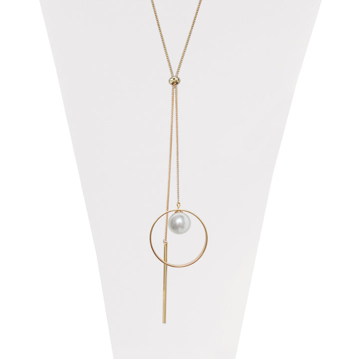 Long collier ajustable en métal avec une perle - OR | Long adjustable metal & pearl necklace  - GOLD